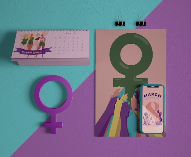 International women's day calendar with mock-up Free Psd
