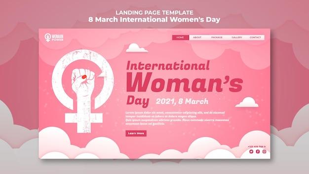 Целевая страница международного женского дня Бесплатные Psd