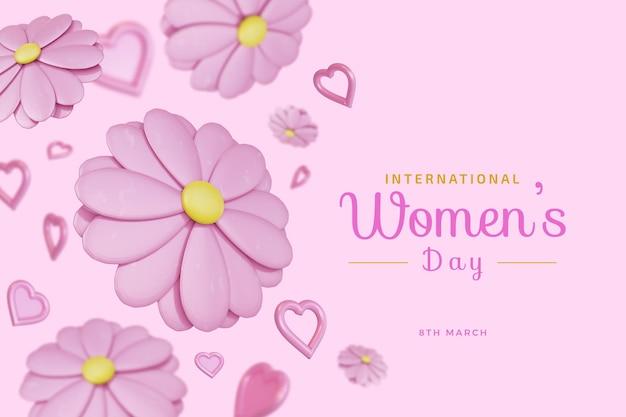 Международный женский день с цветочной любовью 3d-рендеринг Premium Psd