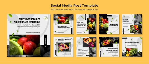 International year of fruits and vegetables instagram posts pack Premium Psd