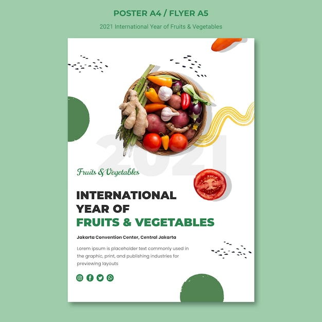 International year of fruits and vegetables poster template Free Psd