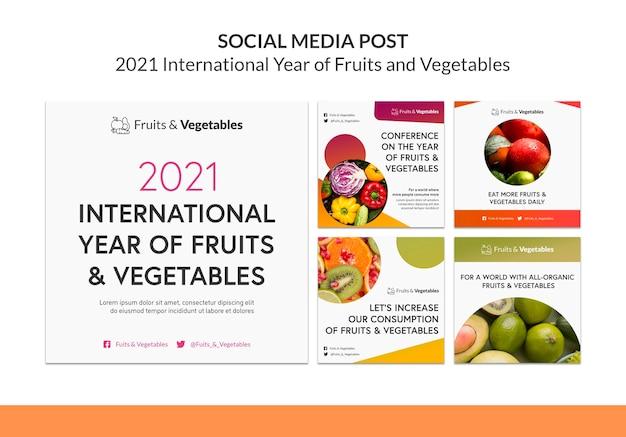 Шаблон сообщений instagram международный год фруктов и овощей Бесплатные Psd