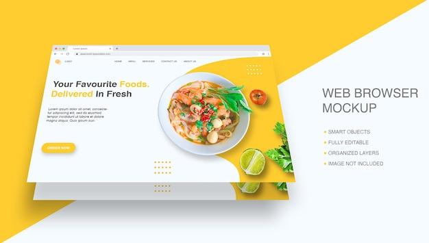 Internet browser window for landing page mockup Premium Psd