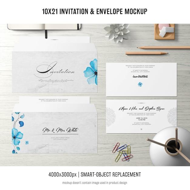招待状と封筒のモックアップ 無料 Psd