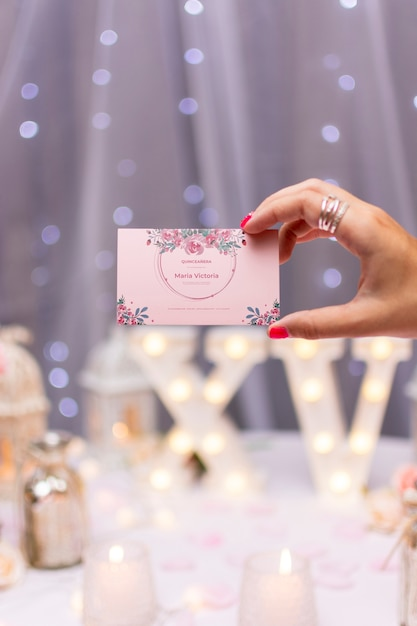 Invitation card for sweet fifteen Free Psd