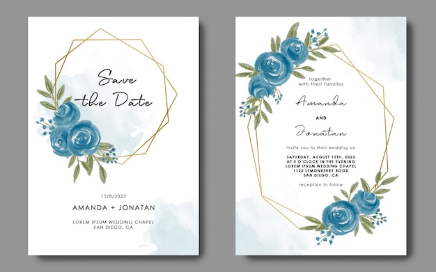 Invitation card template with watercolor floral flower geometric frame decoration Premium Psd