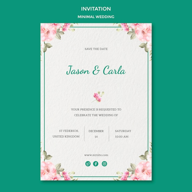 Invitation card template with wedding Free Psd