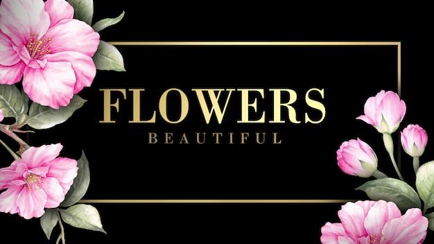 Invitation card with sakura flowers. Premium Psd