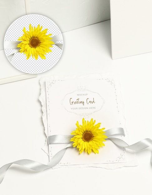 Invitation card, yellow flower and grey ribbon on white background Premium Psd