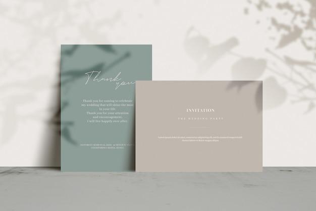 Invitation cards with tree shadow Premium Psd
