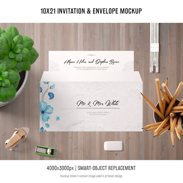 Invitation and envelope mockup Free Psd