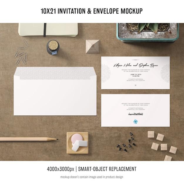 Invitation and envelope mockup Free Psd