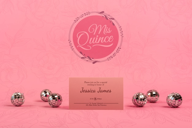 Invitation for girl 15th birthday and silver balls Free Psd