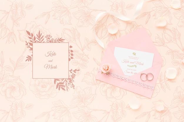 초대장 모형 및 결혼 반지 무료 PSD 파일