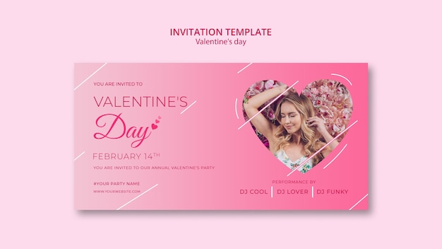 Invitation template for valentines day Free Psd