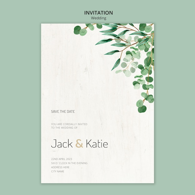 Invitation template for wedding with leaves Free Psd