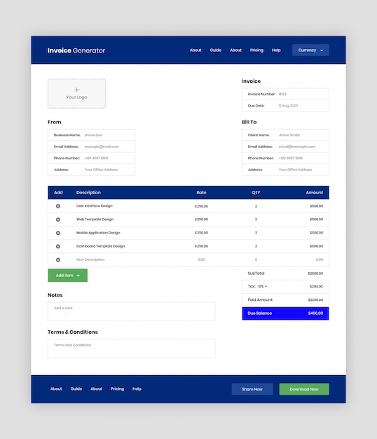 請求書ジェネレータwebアプリのuiテンプレート Premium Psd