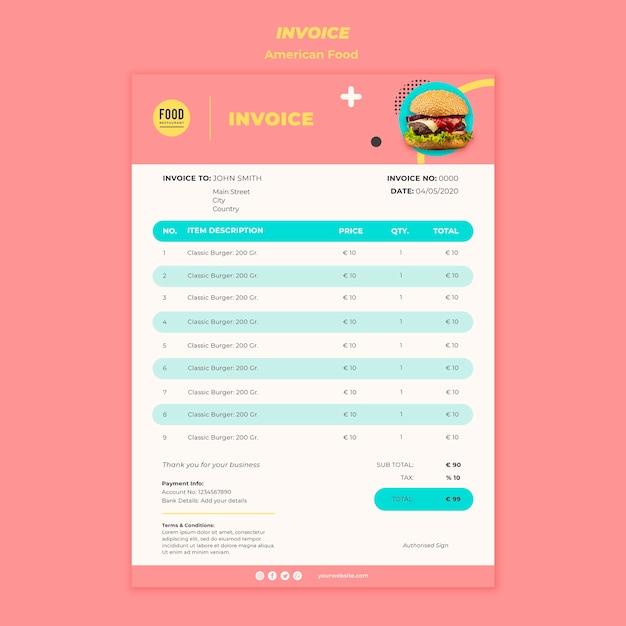 ハンバーガーとアメリカ料理の請求書テンプレート 無料 Psd