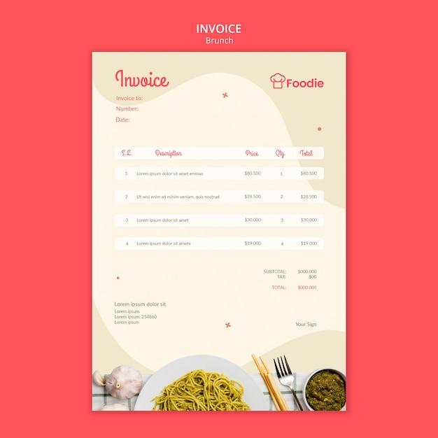 Шаблон счета для ресторана Бесплатные Psd