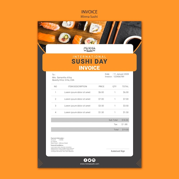 Invoice template for international sushi day Free Psd