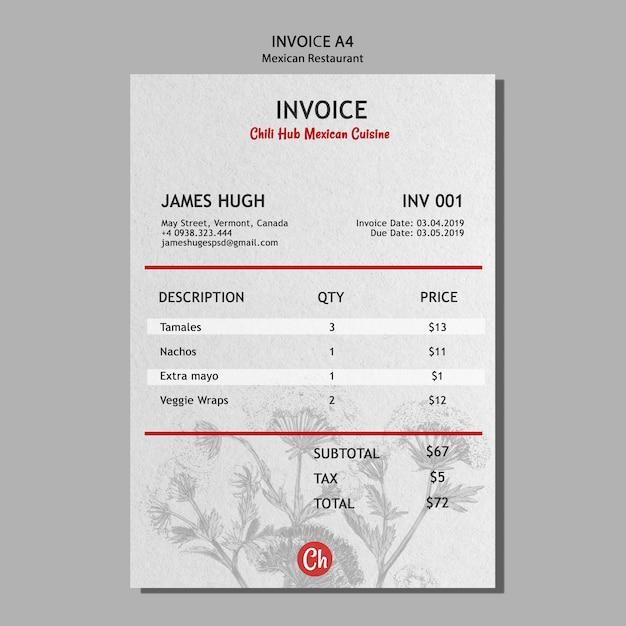 Invoice template for mexican restaurant Free Psd