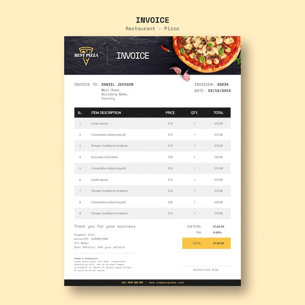 Invoice template for pizza restaurant Free Psd