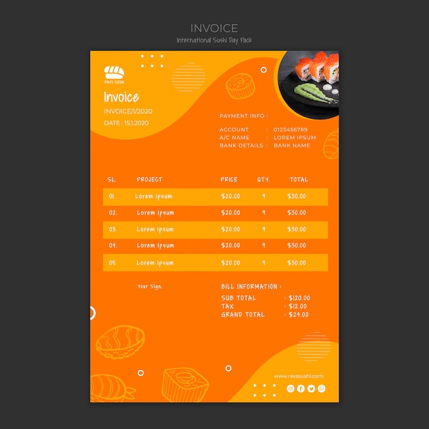 Invoice template for sushi restaurant Free Psd
