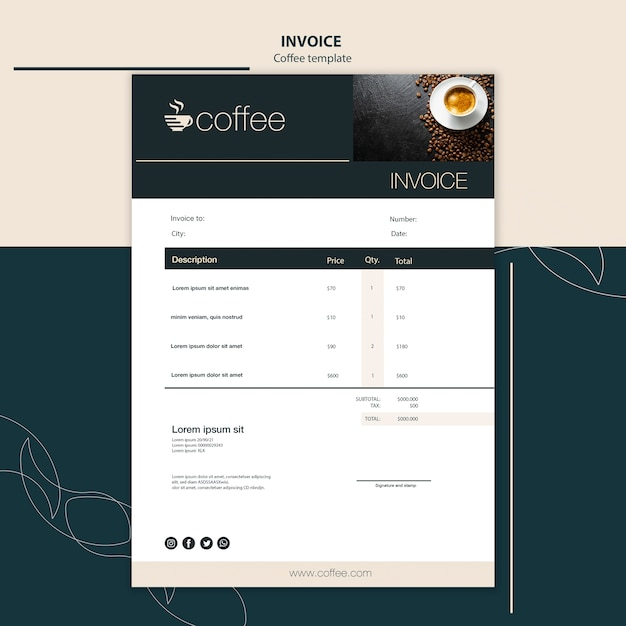 Invoice template theme with coffee Free Psd