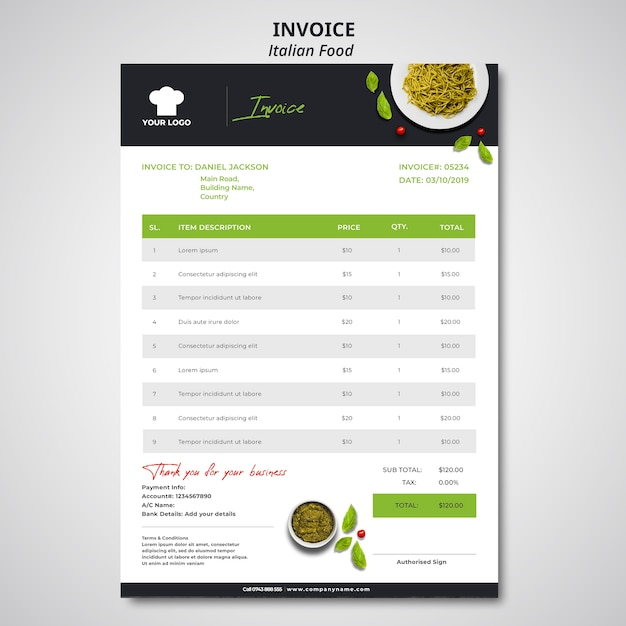 Invoice template for traditional italian food restaurant Free Psd