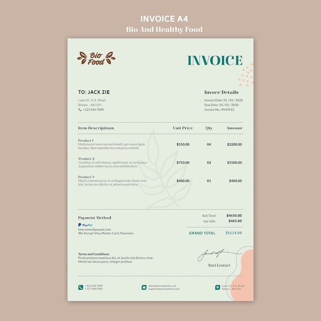 Invoice template with healthy food Free Psd