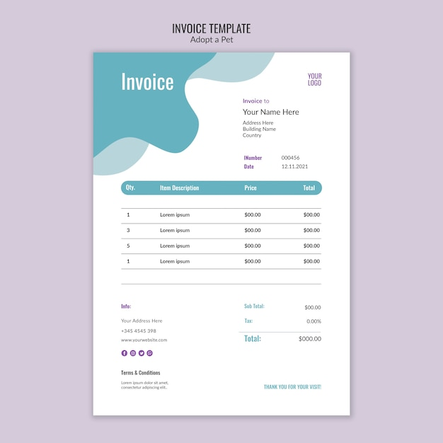 Invoice theme with pet adoption Free Psd