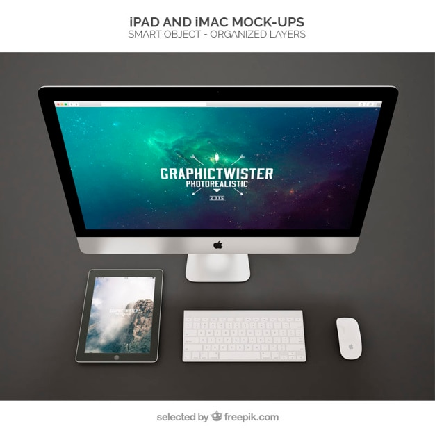 Ipad and imac mockups Free Psd