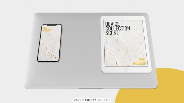 Ipad macbook pro and iphone x collection top view psd mockup Premium Psd