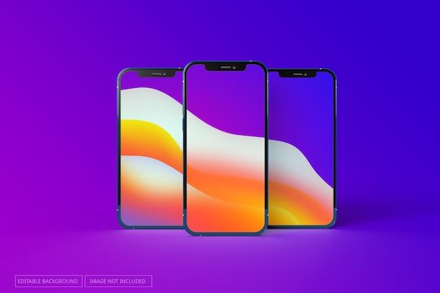 Iphone 12 pro реалистичный макет с несколькими экранами Premium Psd