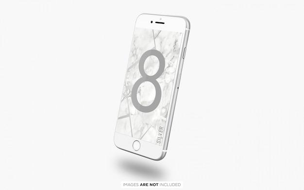 フローティングシルバーiphone 8 psdモックアップ Premium Psd