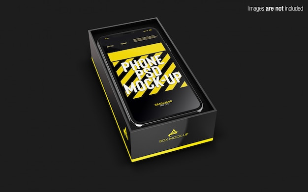 Iphone x psd mockup inside phone box Premium Psd