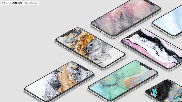 Iphone xs max коллекция сцена psd макет Premium Psd