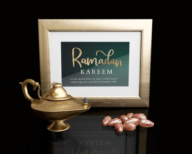 Islamic new year arrangement with frame, lamp and dried dates Free Psd