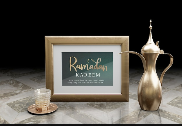 Islamic new year arrangement with golden teapot on marble table Free Psd