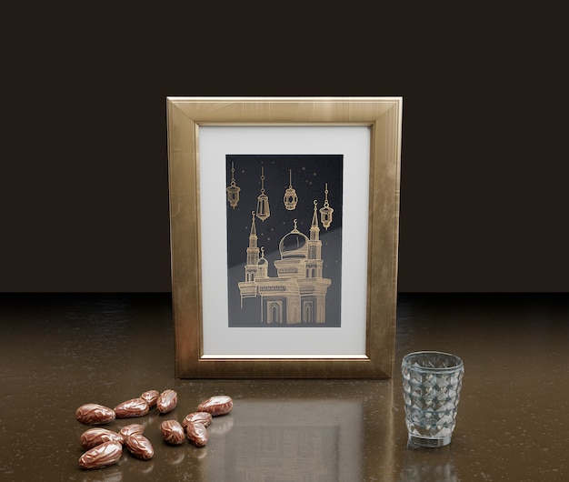 Islamic new year decoration with frame and dried dates Free Psd