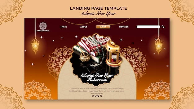 Modello di pagina di destinazione del nuovo anno islamico Psd Gratuite