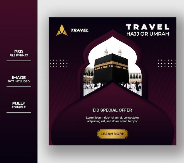 Islamic umrah and hajj tour and travel banner template Premium Psd