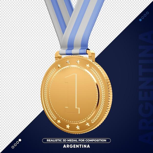 Изолированная 3d золотая медаль из аргентины за композицию Premium Psd