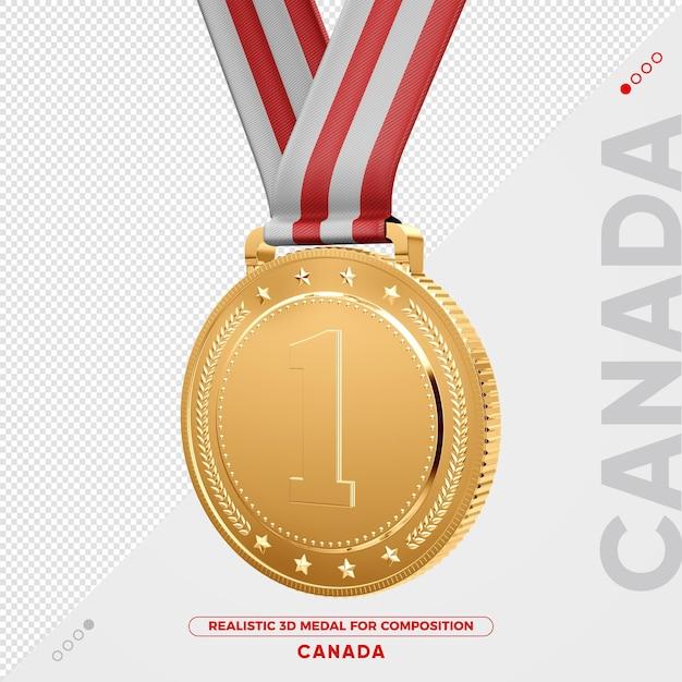 Изолированная 3d золотая медаль из канады за композицию Premium Psd