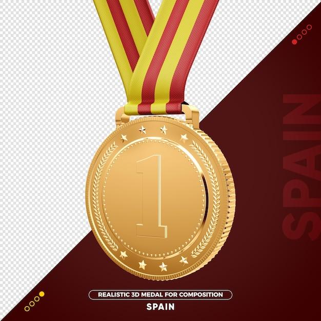 Изолированная 3d золотая медаль из испании за композицию Premium Psd