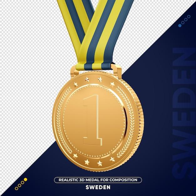Изолированная 3d золотая медаль из швеции за композицию Premium Psd