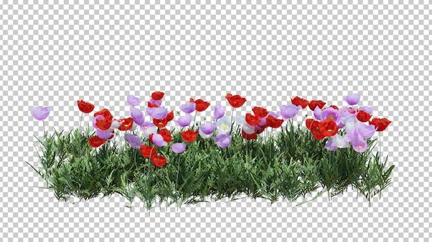 美しい花で孤立したブッシュ Premium Psd