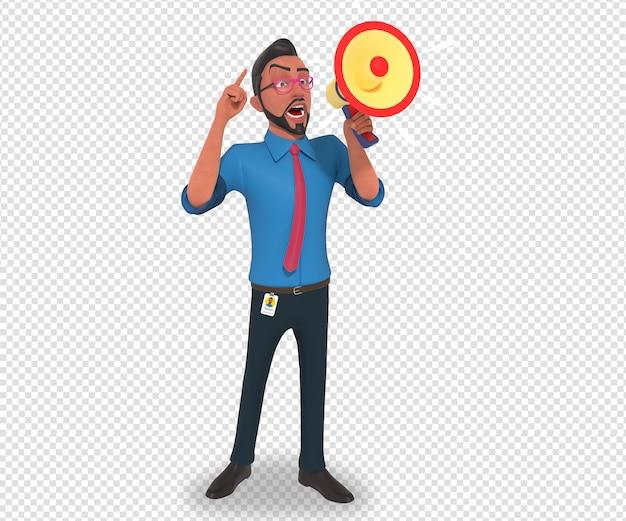 アナウンスをしているビジネスマン漫画マスコットの孤立したキャラクターイラスト Premium Psd