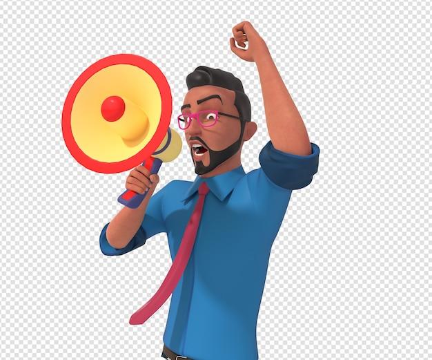 Изолированные характер иллюстрации талисмана мультфильма бизнесмена Premium Psd