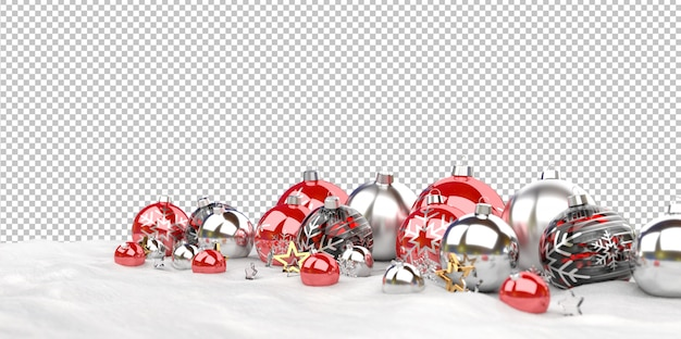 Isolated christmas baubles  lined up on snow Premium Psd